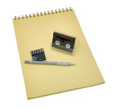 Free Yellow Spiral Bound Notepad With Pen And Calculato Stock Image - 8377681
