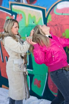 Two Blondes Are Fighting Stock Images