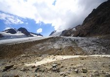 Trekkers And High Mountain Stock Images
