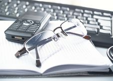 Free Notebook,glasses, Keyboard Stock Photography - 8379152