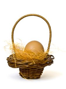 Basket With Egg Royalty Free Stock Image