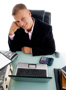 Free High Angle View Of Smiling Businessman Stock Photography - 8379622