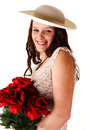 Free Woman With Hat And Roses. Royalty Free Stock Images - 8381079