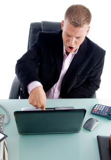 Free Manager Pressing The Key On Laptop Stock Photography - 8380062
