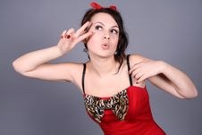Funny Pin-up Girl In Studio Stock Photo