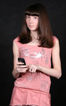 Free Girl With A Phone Stock Photography - 8380412