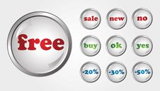 Free Vector Glossy Buttons Stock Photo - 8381710