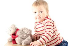 Free Little Blond Boy With Teddy Bear Stock Image - 8381841