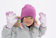 Free Asian Girl Playing In Snow Royalty Free Stock Photography - 8382107