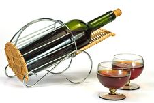 Wine Bottle In Basket Stock Photos