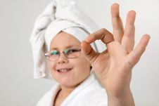Free Funny Looking Kid With Bathrobe And Towel Stock Photography - 8382752