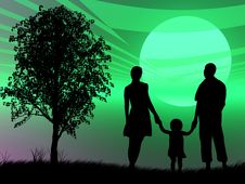 Free Family At Sunset Royalty Free Stock Images - 8383449