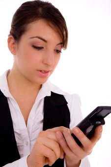 Free Front View Of Female Executive Using Cellphone Stock Image - 8384081