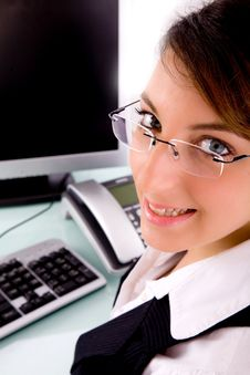 Free Side Pose Of Cheerful Female Executive Stock Photography - 8384182