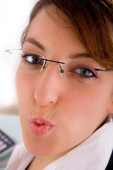 Closeup Of Woman Corporate Offering Kiss Royalty Free Stock Photos