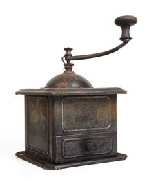 Old Coffee Grinder On White Stock Images