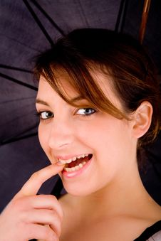Front View Of Happy Woman With Umbrella Stock Images