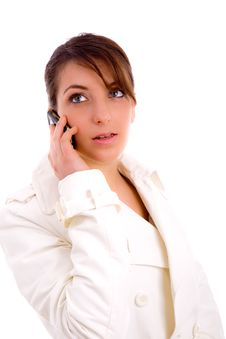 Free Fashionable Woman Talking On Cellphone Royalty Free Stock Photos - 8384638