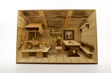 Free Carved Wood 3D Old German Country Kitchen Scene Stock Images - 8384664