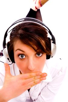 Free Amazed Woman Listening To Music Stock Photo - 8384780
