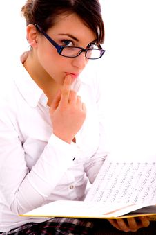 Side Pose Of Female Student With Books Stock Photos