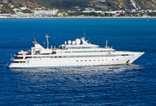 Large White Yacht In Blue Bay Royalty Free Stock Photo