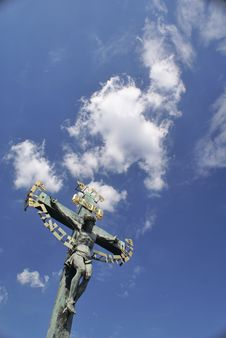 Jesus Crucifix With Sky And Clouds In Background Stock Photo