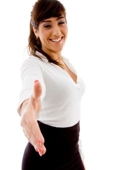 Free Smiling Businesswoman Offering Handshake Royalty Free Stock Photo - 8385555