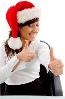Free Front View Of Christmas Woman With Thumbs Up Stock Images - 8385774