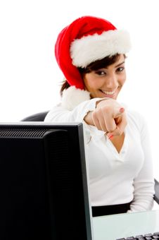 Free Front View Of Smiling Christmas Woman Pointing Royalty Free Stock Image - 8385776