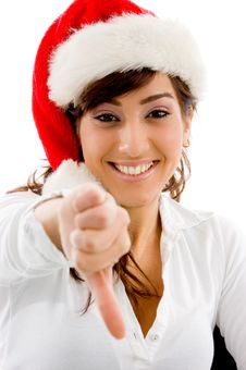 Free Smiling Christmas Female With Thumbs Down Stock Photos - 8385833