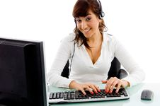 Free Front View Of Female Customer Care Stock Images - 8385834