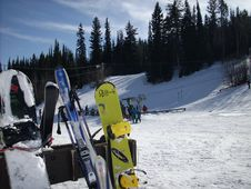 Free Snowboards At The Ski Hill Stock Photography - 8385942