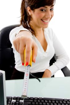 Free Smiling Woman Showing Measurement Tape Royalty Free Stock Photos - 8386218