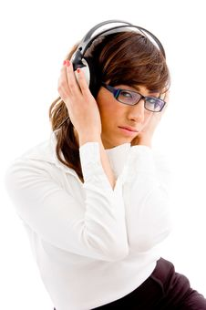 Free Side View Of Woman Holding Headphone Royalty Free Stock Images - 8386459