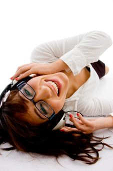 Free Top View Of Smiling Female Enjoying Music Stock Images - 8386514
