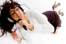 Free Top View Of Singing Woman Listening Music Stock Image - 8386531