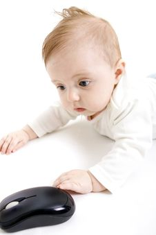 Free Baby With Computer Mouse Stock Photography - 8386652