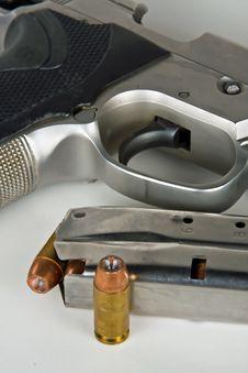 Gun, Clip And Bullet Stock Photo