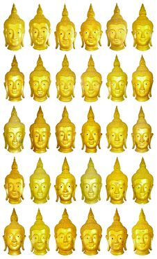 Free 30 Buhddha Image Heads. Stock Photography - 8387302
