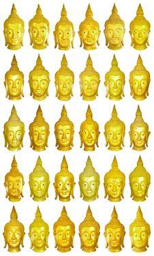 30 Buhddha Image Heads. Stock Photography