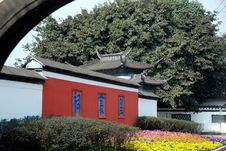 Pixian, China: Entrance To Wang Cong Ci Park Stock Images