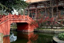 Pixian, China: Bridge At Wang Cong Ci Park Royalty Free Stock Images