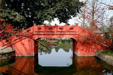 Free Pixian, China: Chinese Bridge At Wang Cong Ci Park Stock Image - 8387641