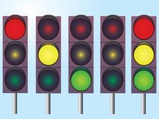 A Set Of Traffic Lights Royalty Free Stock Photo