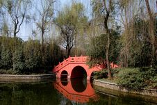 Free Pixian, China: Bridge At Wang Cong Ci Park Royalty Free Stock Image - 8388126