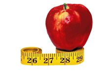 Free Red Apple On The Measuring Tape Royalty Free Stock Images - 8388209