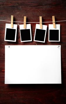 Free Photo Paper Attach To Rope With Clothes Pins Royalty Free Stock Photography - 8389107