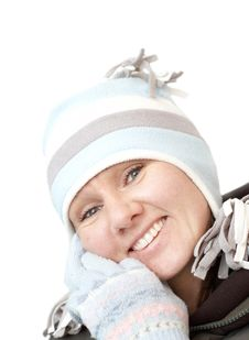 Free Yound Smiling Attractive Woman In Winter Hat Royalty Free Stock Photo - 8389255