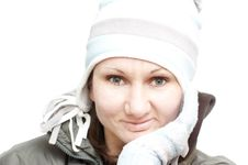 Free Yound Attractive Woman In White Winter Hat Royalty Free Stock Images - 8389269